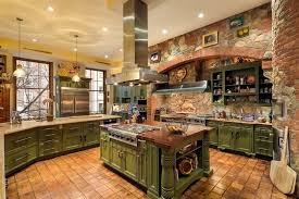 Fancy big open kitchen ideas for home Luxury Intricate Country Kitchen With Brick And Stone Work Throughout Cabinetry Is Textured Green Home Stratosphere 30 Custom Luxury Kitchen Designs some 100k Plus