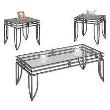 coaster 7140 black glass coffee table set steal a sofa