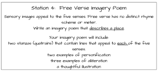 literacy station inspiration poetry stations we merged the verse and the imagery poems into one activity students must incorporate sensory images to describe a place of their choice using