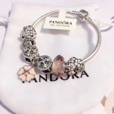 pandora bracelet pink flower charms fit with silver 925 crystal beads diy jewelry replica whole
