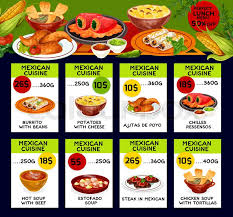 mexican food menu design. Fine Menu Mexican Cuisine Traditional Food Menu Price Cards Vector Lunch Offer Design  For Burrito Beans Potato With Cheese Or Alitas De Pollo And Chilles Ressensos  For Food Menu Design