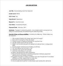 Roto Molding Machine Operator Example Job Description Free Download