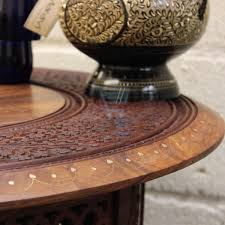 Indian Coffee Table Large Round Coffee Table Brown Solid Wooden Hand Carved Indian