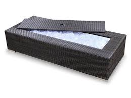 best wicker rectangular outdoor coffee table with storage space for ice cubes