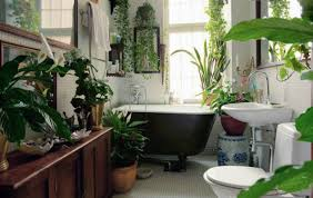 bathroom: Natural Indoor Bathroom Plant Decoration Ideas With Cozy Brown  Bathub Close Glossy Window Facing