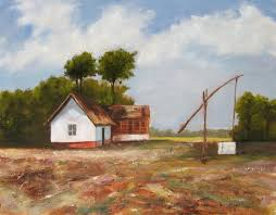 farm oil painting on canvas by artist darko topalski