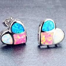 2019 New Blue Imitation Opal <b>Heart</b> Stud Earrings for Women ...