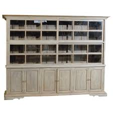 large painted wood sliding glass door china cabinet display case with storage for