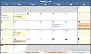 August 2015 Canada Calendar With Holidays For Printing