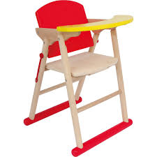 red wooden high chair