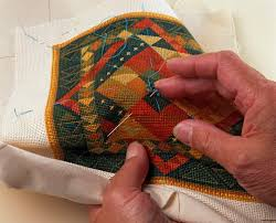 Hand Sewing Basics - Learn Different Hand Sewn Stitches & Sewing basting guidelines onto needlepoint design (making a cushion) Adamdwight.com