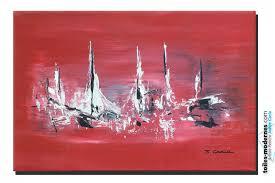 Tableau bateaux rouge moderne horizontal objet déco pas cher unique ...