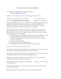 Resume Cover Letter Mechanic Auto Body Entry Level Automotive