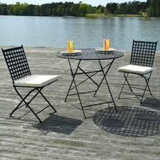 3 piece metal dining set view in gallery black steel three piece bistro set carlisle 3