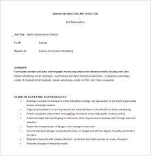 senior interactive art director job description free word download service director job description