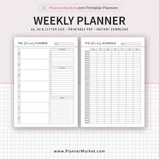 Weekly Planner 2019 Planner Weekly Schedule A5 A4 Letter Size Planner Refill Planner Binder Instant Download