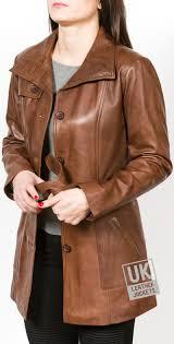 womens 3 4 length dark tan leather coat jacket sophie main