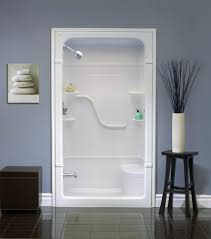 wall built in one piece shower stalls with corner seat and wall floating storage plus glass door ideas