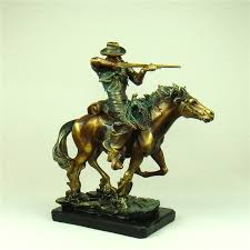 retro american west armed cowboy statue handmade resin horse riding cop character sculpture craft for office