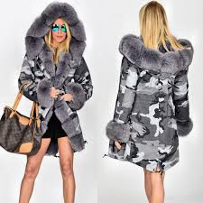 details about uk women s winter faux fur coat military jacket thick warm parka with fur lining