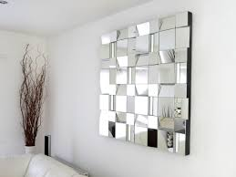 Mirror Living Room Decorations Rectangular Mirrors On Beige Wall Above Rusic Wooden