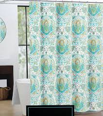 Turquoise Curtains For Living Room Amazoncom Cynthia Rowley Fabric Shower Curtain Orange Turquoise