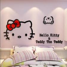 Cartoon Hello Kitty Acrylic Crystal Wall Stickers 3D Acrylic Wall Hangings Bedroom  Furniture Living Room Sofa TV Backdrop In Wall Stickers From Home ...