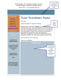 Newsletter Template Sample Myottachnistman35 S Soup