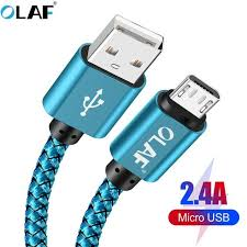 <b>OLAF</b> Micro usb cable <b>5V 2.4A</b> Braided Quick charger Fast charging ...