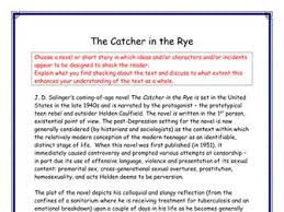 a grade essays gcse national higher a level english by a grade higher english essay and homework on catcher in the rye by j d salinger