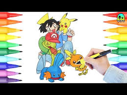 Small Picture Pokemon Coloring Pages Ash and Pikachu I Coloring book fun YouTube