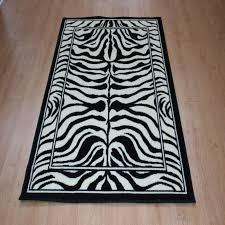 quality black cream zebra print rug 120cm x 170cm jungle safari animal print rug