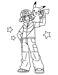 Small Picture Pokemon Coloring Pages Ash And Pikachu HiColoringPages