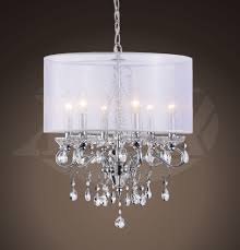 sophia crystal chandelier with white fabric shade 17 w x 22 h