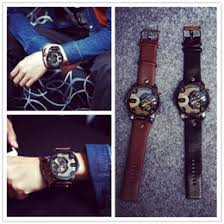 discount designer mens digital watches 2017 designer mens 2016 new retro oversized double movement watches classic leather band mens watches 2 colors fashion designer quartz watch discount designer mens digital