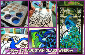 how to faux stain glass window diy faux stained peacock