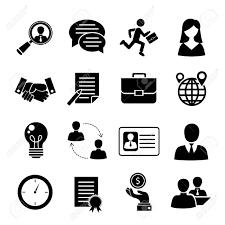 ジョブ インタビュー黒いアイコンを設定するジョブ検索のインタビュー募集分離ベクトル イラストを使用
