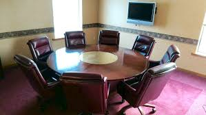 7 foot round conference table and chairs solid walnut