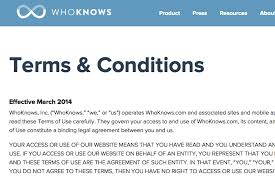 terms of use of whoknows