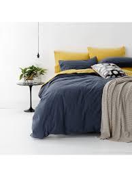 european vintage wash cotton quilt cover set super king bed blue