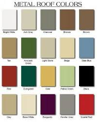 A Chart Of Standard Metal Roofing Colors Screened In