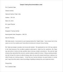 Download Sample Training Re mendation Letter Template