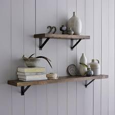 decorating rustic wood shelf unit long wall reclaimed