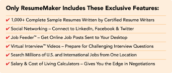 only resumemaker includes these exclusive features resume builder sign in
