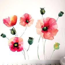 poppy wall decal watercolor poppies decals zoom troll sticker ikea flowers
