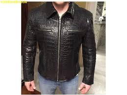 18500 new handmade special genuine crocodile alligator leather jacket black