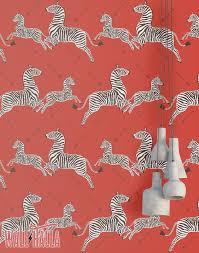 Red Zebra Wallpaper Niet Geweven Behang Of Zelfklevend Vinyl Etsy