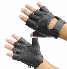 details fingerless leather work gloves
