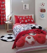 football bedroom set. catherine lansfield kids football bedding quilt/ duvet cover set in red / blue bedroom e