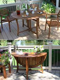 folding round outdoor dining table with